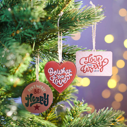 Set Of Three Positive Hanging Christmas Decorations