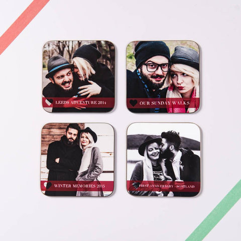 Set Of Four Personalised Couple Photo Coasters