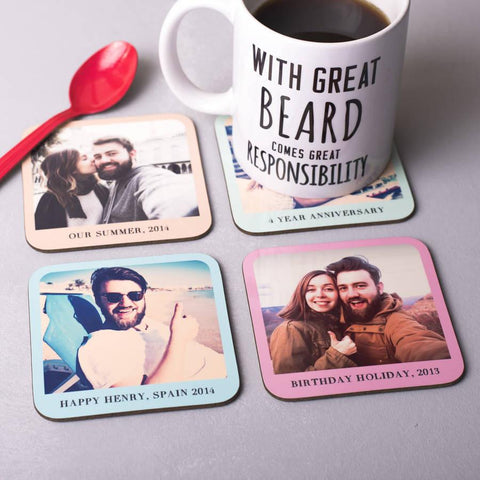 Set Of Four Personalised Pastel Photo Coasters