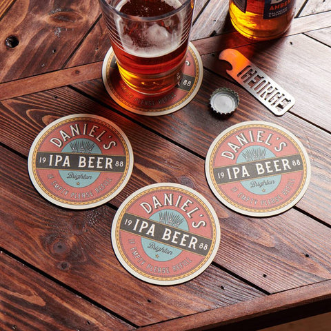 Set Of Four Personalised Retro Style Beer Mats