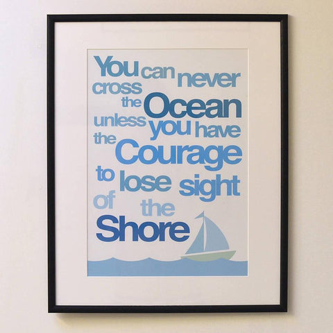 'Ocean Courage' Quote Graphic Art Print - Oakdene Designs