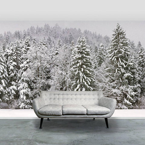 'Snowy Trees' Self Adhesive Wallpaper Mural - Oakdene Designs - 1