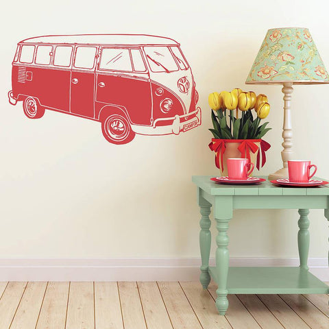 Surf Style Camper Van Wall Sticker - Oakdene Designs - 1