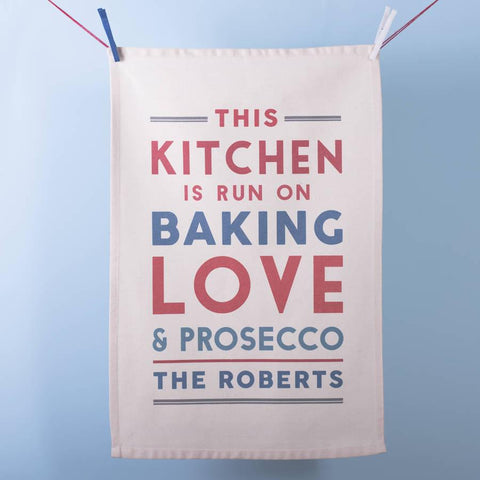 'This Kitchen Runs On' Personalised Tea Towel