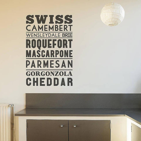 Typographic Cheese Wall Sticker - Oakdene Designs - 1