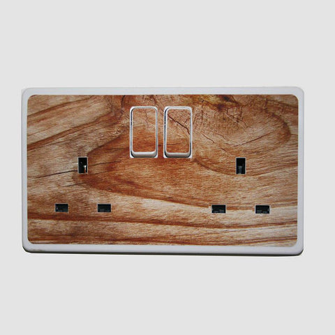 'Wood Effect Plug Socket Stickers' - Oakdene Designs - 1