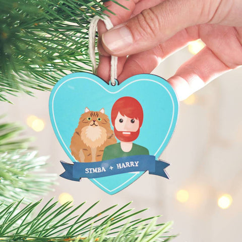 Personalised Cat And Owner Hanging Christmas Decoration
