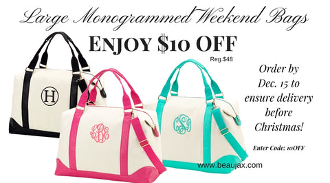 Large Monogrammed Weekend Bags on Sale Now!