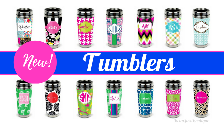 Monogrammed Stainless Steel Travel Tumblers Make Great Stocking Stuffers!