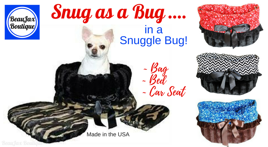 Make Them Snug as a Bug in a Snuggle Bug! Get a Free Dog Safety Seat Belt with Purchase