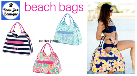 Think Spring! Monogrammed Beach Bags Have Arrived at BeauJax Boutique!