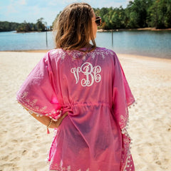 Monogrammed Pom Pom Beach and Pool Coverup Back View with Monogram shown