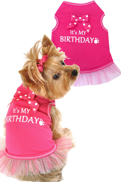 It's My Birthday Hot Pink Dog Tank with Tutu - Apparel - BeauJax Boutique