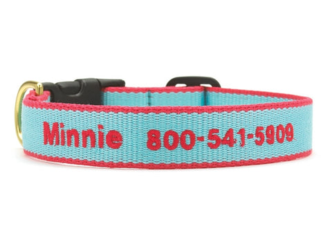 Bamboo Aqua and Coral Dog Collar - Personalized Collars - BeauJax Boutique