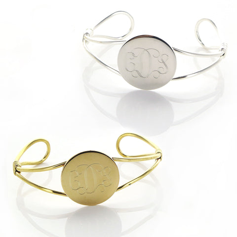 Bangle Wrap Cuff with Monogrammed Round Face - Bracelets - BeauJax Boutique