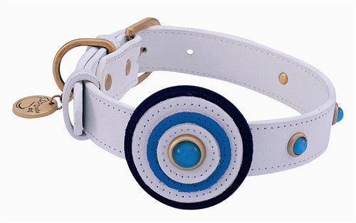 White Leather Dog Collar with Circle and Blue Cat Eye - Leather Collars - BeauJax Boutique