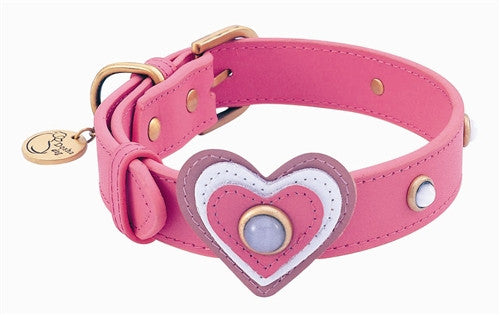Candy Pink Leather and Gemstone Dog Collar with White Cat Eye - Leather Collars - BeauJax Boutique