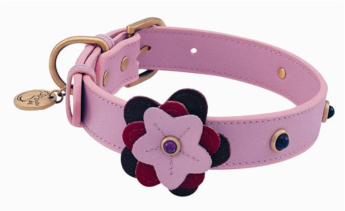 Pink Leather Dog Collar with Red Petal and Purple Glass - Leather Collars - BeauJax Boutique