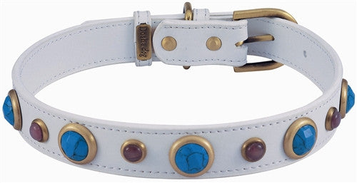 White Leather Dog Collar with Faceted Turquoise and Cat Eye Gemstones - Leather Collars - BeauJax Boutique