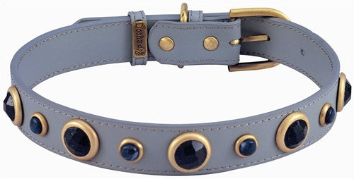 Gray Leather Dog Collar with Faceted Blue Sand Stone and Sodalite Gemstones - Leather Collars - BeauJax Boutique