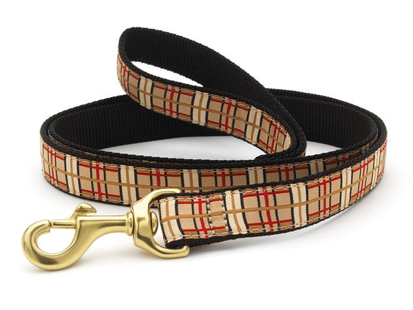 Tan and Red Plaid Ribbon Dog Leash - Dog Collars - BeauJax Boutique