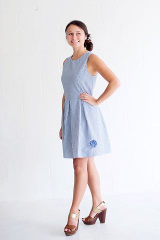 Navy Seersucker Dress - Dresses for Mom - BeauJax Boutique
