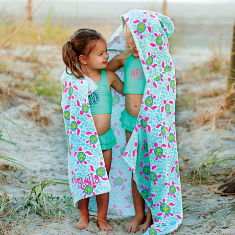 turtle-tide-kids-monogrammed-hooded-beach-towel-monogrammed-beach-towel-BeauJax Boutique