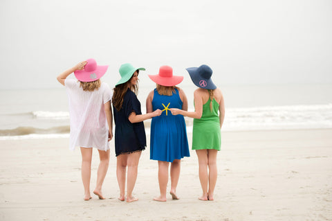 Monogrammed Floppy Sun Hats in 8 Colors - Hats - BeauJax Boutique