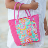 summer-paisley-monogrammed-cooler-tote - tote bags - lunch bags - vacation - travel - beach - work - personalized bags - BeauJax Boutique