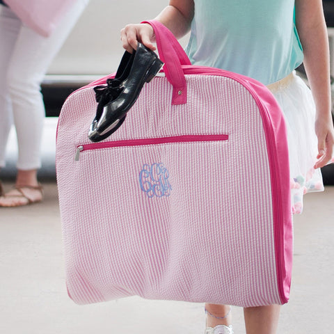 Pink Seersucker Monogrammed Garment Bag - Garment Bags - BeauJax Boutique