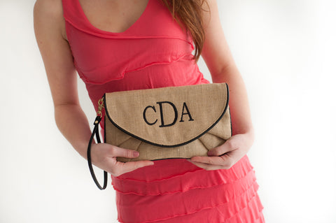 Burlap Monogrammed Clutch in 4 Colors - Purses - BeauJax Boutique