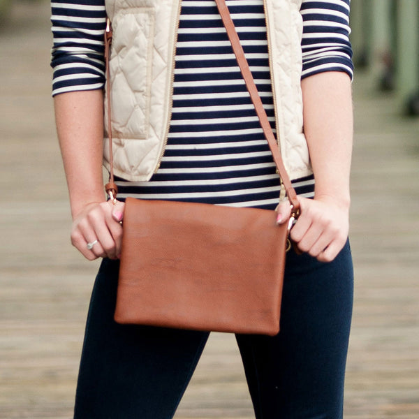 Camel Monogrammed Crossbody Foldover Flap Purse - Purses - BeauJax Boutique