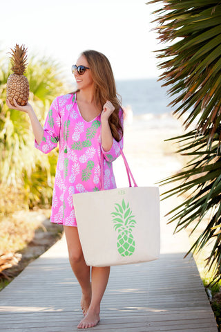 Pineapple of My Eye Monogrammed Tunic Cover-Up - Back in Stock May 2017 - Beach Coverups - BeauJax Boutique