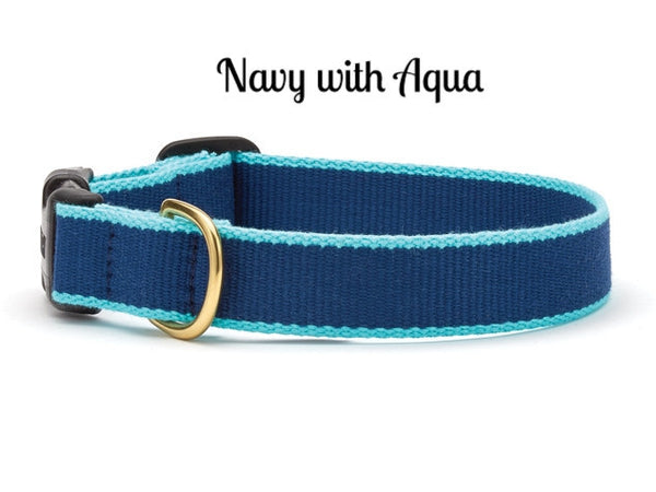 Bamboo Navy Blue and Aqual Dog Collar - Personalized Collars - BeauJax Boutique