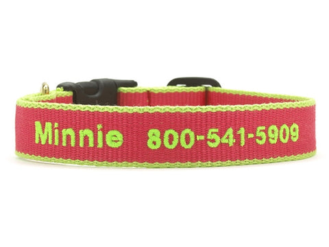 Bamboo Pink and Lime Dog Collar - Personalized Collars - BeauJax Boutique