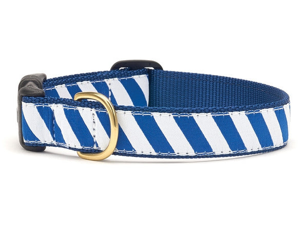 Blue and White Stripe Ribbon Dog Collar - Team Spirit Collars - BeauJax Boutique