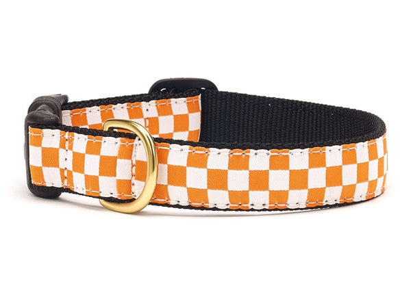 Orange and White Checkerboard Ribbon Dog Collar - Team Spirit Collars - BeauJax Boutique