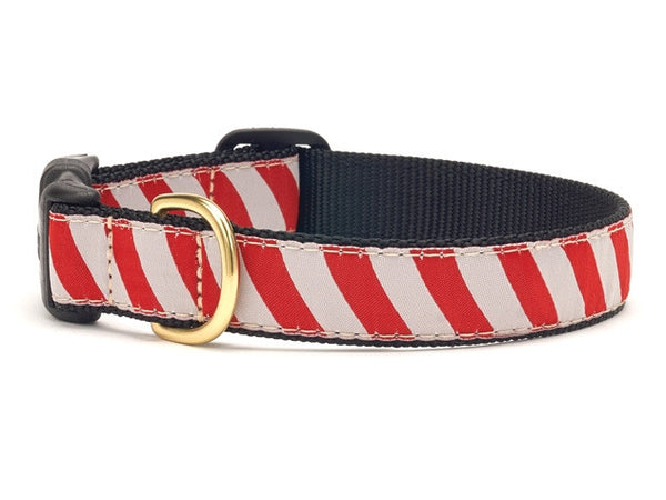 Red and Gray Stripe Ribbon Dog Collar - Team Spirit Collars - BeauJax Boutique