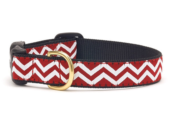 Red and White Chevron Ribbon Dog Collar - Team Spirit Collars - BeauJax Boutique