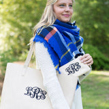 Camel Monogrammed Tassel Tote - Purses - BeauJax Boutique
