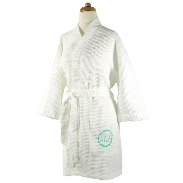 Waffle Weave Monogrammed White Kimono Style Robe - Bath Essentials -  BeauJax Boutique 0a3ee75a0