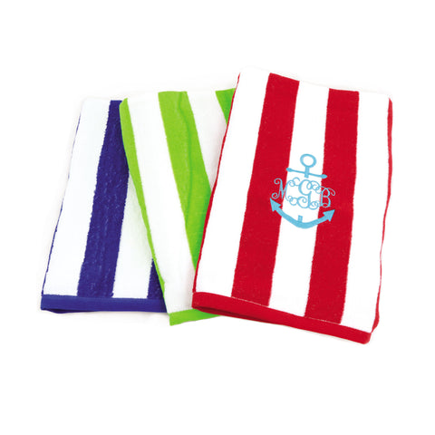 Cabana Stripe Monogrammed Beach Towels - Bath Essentials - BeauJax Boutique