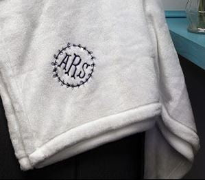 White Micro Fleece Monogrammed Throw - BeauJax Boutique