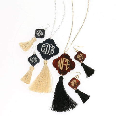 NEW! Amelia Acrylic Quatrefoil Monogrammed Tassel Earrings - Acrylic Jewelry - BeauJax Boutique