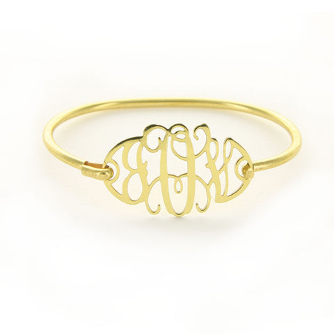 Floating Filigree Monogram Bangle Bracelet in Gold or Silver - Bracelets - BeauJax Boutique
