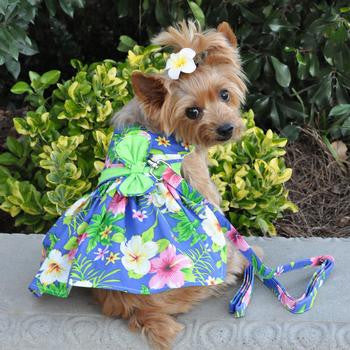 Blue Lagoon Hawaiian Hibiscus Designer Dog Dress Matching Leash Included - Doggy Dresses - BeauJax Boutique