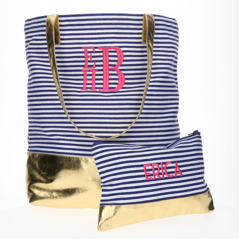 Navy Pinstripe Monogrammed Canvas Tote Bag with Gold Foil Block - Tote Bags - BeauJax Boutique