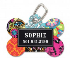 Bohemian Personalized Bone Pet Tag Available in Pink and Blue - Pet Tags - BeauJax Boutique
