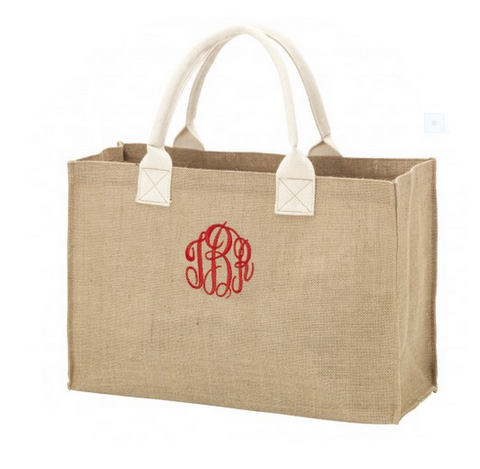 Burlap Monogrammed Tote Bag - Tote Bags - BeauJax Boutique