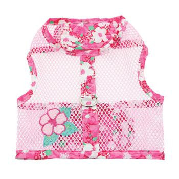 Hawaiian Pink Hibiscus Cool Mesh Dog Harness and Matching Leash - Harnesses - BeauJax Boutique